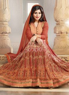 Rust Rimi Sen floor length #anarkali