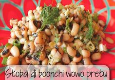 Stobá di boonchi wowo pretu - gestoofde zwartoog bonen Creole Kitchen, Latin American Food, Dinner This Week, Exotic Food, Black Eyed Peas, Potato Salad, Side Dishes, Lime, Chicken