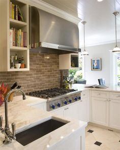 Tish Key Interior Design - kitchens - white, kitchen cabinets, calcutta, marble, countertops, brown, glass, subway tiles, backsplash, stainless steel, barrel, range hood, beadboard, ceiling, gray, walls,