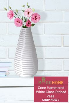 Bring a contemporary style and look to your living room with our stunning Cone Stripe White Glass Etched #Vases.