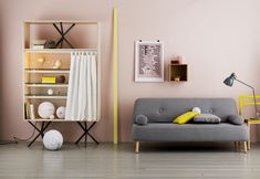 "grey and yellow living room, ""first apartment"""