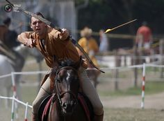 Daniel Griffin of South Africa shoots during the European Open Championship of Horseback Archery in Veroce.