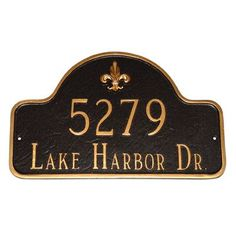 Montague Metal Products Estate Fleur de Lis Two Line Arch Address Plaque Finish: Navy / Silver, Mounting: Lawn