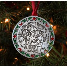 Christmas carols are sure to elicit happy holiday memories at any time of the year. Get into the holiday spirit with this ornament that features carolers and a hand painted stained glass style border. Christmas Carol, Christmas Ornaments, Time Of The Year, Handmade Christmas, Happy Holidays, Stained Glass, Singing, Artisan, Spirit