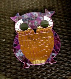 Purple Mosaic Owl Wall Hanging Art Funky Boho Cute Handmade