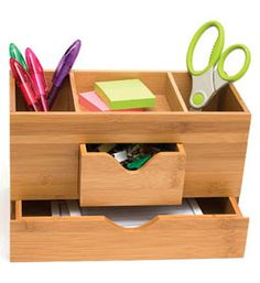 Bamboo Three-Tier Desk Organizer - there are several items in this set I like