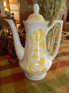 Vintage English Yellow Ironstone Teapot Tea Pot or Coffee Pot Vines and Scrolls :: EnglishTransferware Shop :: $49.99