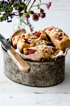 beautiful bread with raspberries, walnuts and oatmeal crumble.