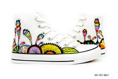 Colorful And Fantastic Coral Reefs Under The Sea Inspired Custom, Hand Painted High Shoes, Cosplay Hand Drawing Shoes