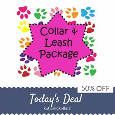 Today Only! 50% OFF this item.  Follow us on Pinterest to be the first to see our exciting Daily Deals. Today's Product: Sale - 50% Off Collar and 5 Ft Leash Package!, Dog Collar Set, Dog Leash Set Buy now: https://www.etsy.com/listing/216408364?utm_source=Pinterest&utm_medium=Orangetwig_Marketing&utm_campaign=valentine