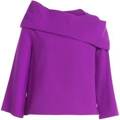 J.W. Anderson Stretch Wool Top ($370) ❤ liked on Polyvore featuring tops, blouses, purple, purple blouse, purple top, j.w. anderson and slimming tops