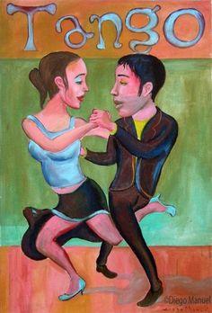 tango milonguero 4, pinturas de Diego Manuel Sale of a painting of the Argentine Tango. Venta de una pintura sobre el tango Argentino.