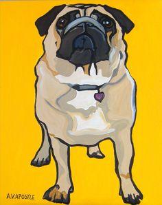 POP ART PRINT Pug Dog Yellow Background Signed by AVApostleDesign, $9.95