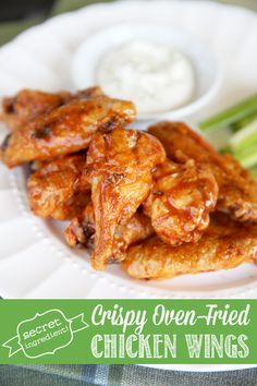 The secret to Crispy Glazed Chicken Wings in the Oven -seriously tastes JUST like the fried kind, only healthier!