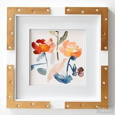 This stunning $4 project is easy enough for DIY-newbies to create. Purchase four 4-inch flat corner braces from a hardware store. If you can't find brass braces, no worries! You can spray-paint the braces with metallic gold paint. Adhere a brace to each corner of a simple white picture frame using multi-surface adhesive./