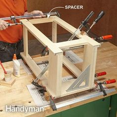 Glue the table's base, as shown in the end table plans. - Simple Rennie Mackintosh End Table Plans: http://www.familyhandyman.com/woodworking/projects/simple-rennie-mackintosh-end-table-plans/view-all