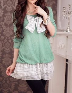 Polka Dot Bow Green Dress Shirt.
