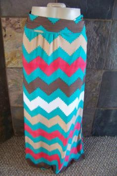 New Made in the USA satin Chevron print Long Maxi Skirt woman sizes S M L XL