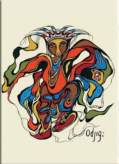 """Design by Potawatomi Artist - Daphne Odjig."""" - Dapnhe Odjig (Wholesale: Magnets are sold in multiples of Native American Beauty, American Indian Art, Native American Indians, Daphne Odjig, Group Of Seven Art, Canadian Artists, Native Canadian, Canadian Painters, Canada Images"""