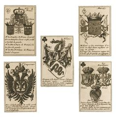 Playing cards--Brianville, Claude Oronce Finé de   armorial cards, dedicated to the Dauphin, were originally published in 1659, and due to their popularity were regularly republished, not just in France but across Europe. This set has the arms of Pope Clement IX (1667-1669) on the papal card. The red tax stamp on the five of hearts (Provence, Auvergne and Bresse) indicates that it was in use in England at the start of the eighteenth century. Sotheby's