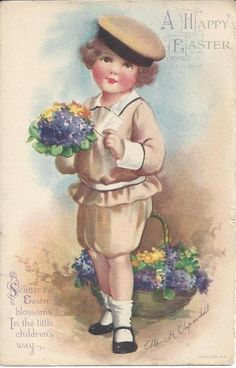 A HAPPY EASTER, ELLEN H. CLAPSADDLE, POSTMARKED 1921,SCATTER THE EASTER BLOSSOMS #Easter