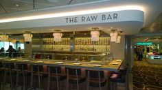 """Raw Bar focuses on crustaceans and wines by the glass at a la carte prices. You'll also find an Ocean Blue on the Waterfront takeout window that serves a la carte """"beachy"""" favorites like lobster rolls during the day, but only from 12 p.m. to 2 p.m. on sea days (so a total of six hours on a weeklong sailing)."""