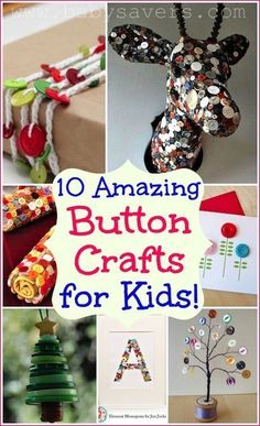 10 amazing button crafts for kids--these projects are adorable and so creative! This Big Kid wants to make some of these cool button crafts Button Crafts For Kids, Crafts For Teens To Make, Projects For Kids, Crafts To Sell, Diy For Kids, Easy Crafts, Diy And Crafts, Craft Projects, Arts And Crafts
