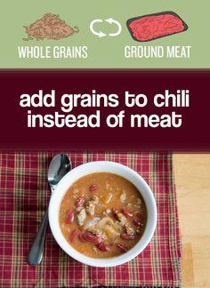 Swap meat for whole grains (quinoa, bulgur, etc.) or mushrooms to make chili healthier. | 27 Easy Ways To Eat Healthier