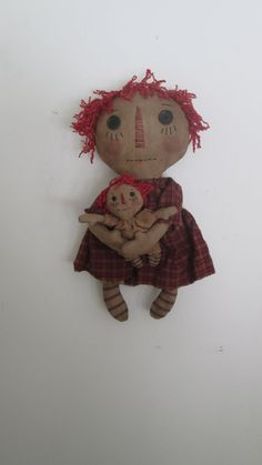 Primitive Raggedy with Her Dolly by Bettesbabies on Etsy