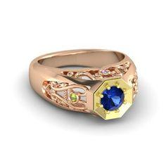 Men's Round Blue Sapphire 18K Rose Gold Ring with Amethyst & Peridot   Octagon Ring   Gemvara