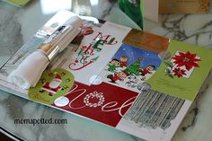 christmas card placemat made from old cards and laminated. Hallmark