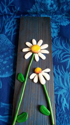 Daisies Pebble Art Driftwood Art Pebble от WildWhimsicalNature