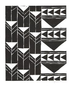 Print: Abstract Geometric Tribal Triangles Linocut / by printwork, $25.00