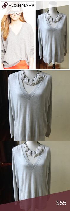 J. Crew Merino Wool Sweater Large Beautiful! Gray, J. Crew Merino sweater. Excellent condition-no damage. The listing is for the sweater only. J. Crew Sweaters