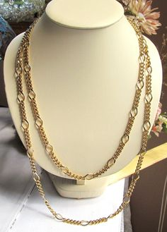 Vintage Signed Erwin Pearl 22 kt Gold Plated Chain Necklace 60 Inches Long by SaraJewelryDesign on Etsy