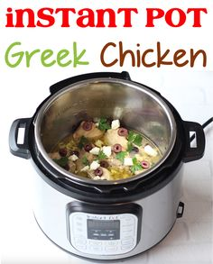 Greek Chicken Recipes Marinade! Feta cheese, olives, and dinner ideas for family are so easy and quick! Greek Chicken Recipes, Greek Recipes, Greek Meals, Instant Pot Pressure Cooker, Pressure Cooker Recipes, Crockpot Recipes, Soup Recipes, Copycat Recipes, 5 Ingredient Dinners