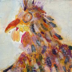 Not your momma's 'little red hen'. 'Dixie' Acrylic mixed media on birch panel Little Red Hen, Chickens And Roosters, Hens, 30 Day, 30th, Challenge, Paintings, Artists, Animals