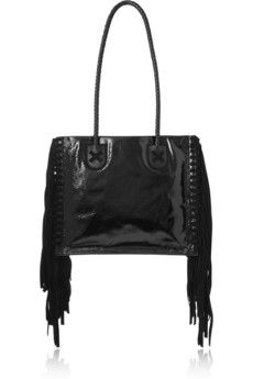 Tamara Mellon Black Rock suede-fringed patent-leather tote | NET-A-PORTER