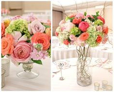 coral peach blush centerpieces in mecury glass compote urn with garden roses and curly willow branches elevated large centerpiece low mounde...