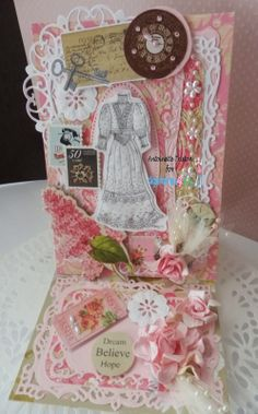 Easel card - Fun with 'Vintage Couture' dress digi image by Margy/DigiStamps4Joy.