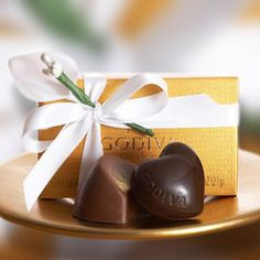 Gold Ballotin Favor - Set of 12 - The duo that does it all, pleasing guests at weddings, graduations, and elegant luncheons. Our classic pair includes a Milk Chocolate Praline Crescent and Dark Chocolate Ganache Heart.