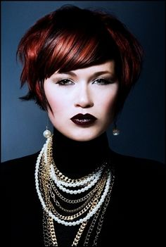 30 Nicest Red Hair With Blonde Highlights Edgy Bob Hairstyles, Layered Bob Haircuts, 2015 Hairstyles, Straight Hairstyles, Short Hair Cuts, Short Hair Styles, Red Hair With Blonde Highlights, Color Highlights, Hair Brained