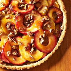 Jelly and cider help this #apple and #pecan #tart get its bold flavors.
