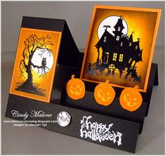 "handmade card from Discover Stamping: Halloween ""Side Step"" Card . two main images . creepy tree with owl silhouette and haunted house . luv the vibrant black and orange . Scrapbooking Halloween, Halloween Paper Crafts, Up Halloween, Handmade Halloween Cards, Fall Cards, Holiday Cards, Christmas Cards, Side Step Card, Tarjetas Pop Up"
