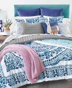Add sophisticated charm to your room with the Valencia Mandala comforter set from Martha Stewart Collection, featuring a soft cotton fabric and a mandala pattern that reverses to ogee. Twin Xl Comforter, Queen Comforter Sets, Mandala Comforter, Baby Room Lighting, Bed In A Bag, Bed Styling, Furniture For Small Spaces, Bedding Collections, Martha Stewart