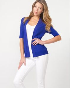 White outfit, blue cardigan