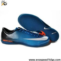 Discount Blue White Orange Nike Mercurial Vapor IX IC Soccer Boots Shop