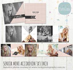 Senior Mini Album   Accordion 3x3 inch by PaperLarkDesigns on Etsy, $9.95