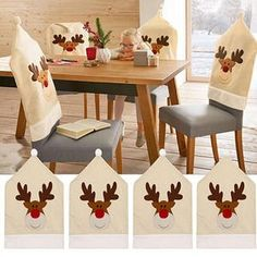 Fashion Christmas Dinner Table Party Red Hat Chair Back Covers Deer Hat Chair Cover Elk Cap Chair Cover Xmas Decoration Hot Sale Kitchen Chair Covers, Chair Back Covers, Party Table Decorations, Christmas Table Decorations, Christmas Chair Covers, Dinner Party Table, Patterned Chair, Christmas Cartoons, Christmas Kitchen