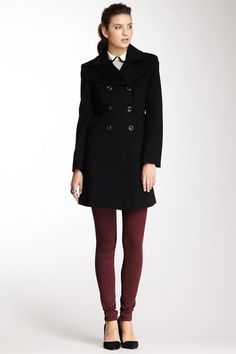 Larry Levine Wool Notch Lapel Coat by Non Specific